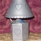 Home Interiors Metal Gray Tin Punch Candle Lamp