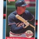 1988 Donruss Baseball Card 519, Mark Davidson, Minnesota Twins