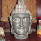 Gray Stone Buddha Head Statue / Sculpture Life Size