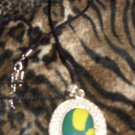 Rare Yellow & Green Silver stone  Disc Necklace (Like Turquoise)