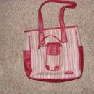 Vintage Burgundy Striped Longaberger Purse and Cell Phone Holder