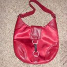 Red Satin and Leather Purse, Rhinestone clasp