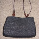 Black Textured Weave Handbag by Kim Rogers