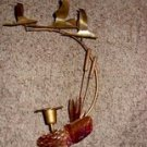 Vintage Copper Wall Candle Holder, Ducks over Pond