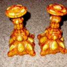 Colonial Style Orange/Yellow Ceramic Candle Holders
