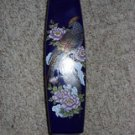 Medium Oriental Flower Vase Cobalt Blue with Peacock