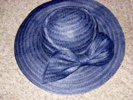 Navy Blue Woven Straw Hat with Stylish Bow