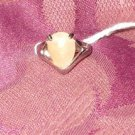 "Peach Agate ""  Muses Teardrop  Ring"" Size 6"