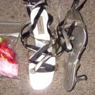 Touch Ups Ladies  Silver Sandal, Lace up ribbon - Size 9 1/2M