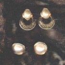 Vintage Cultured Pearl Earrings (Pierced) Two Pair