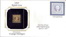 1869 Regular Issue 22kt Gold 6-cent Replica Stamp (George Washington)