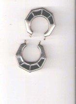 Geometric Silver and Onyx Hoop Earrings (Pierced)