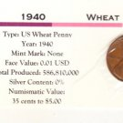 1940 Wheat Cent , Copper Penny , Circulated United States Currency