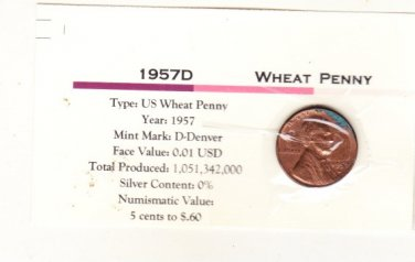 1957 D  Wheat Cent , Copper Penny , Circulated United States Currency