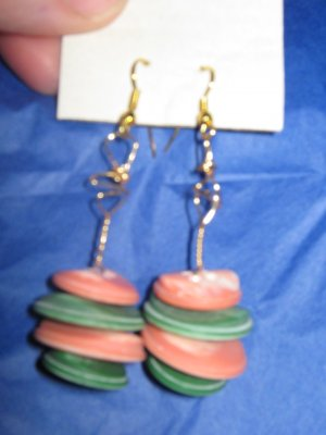Antique Button Earrings Handmade Old button Jewelry  #057