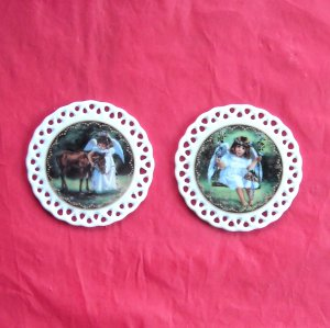 Bradford Editions Heavens Little Sweethearts Angels Affection & Friendship set of 2 ornaments