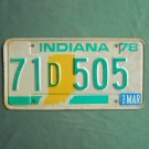 Vintage Green White Indiana License D Plate 1978