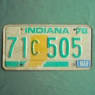 Vintage Green White Indiana license C plate 1978