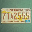 Indiana George Rogers Clark Vintage Indiana license A plate 1980