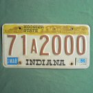 Vintage Indiana Hoosier State license A plate 1984