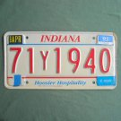 Indiana Hoosier Hospitality Red White license Y plate 1993