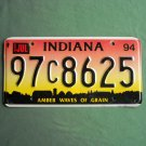 Indiana State Amber Waves of Grain license C plate 1994