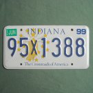 Indiana State The Crossroads of America License X Plate 1999