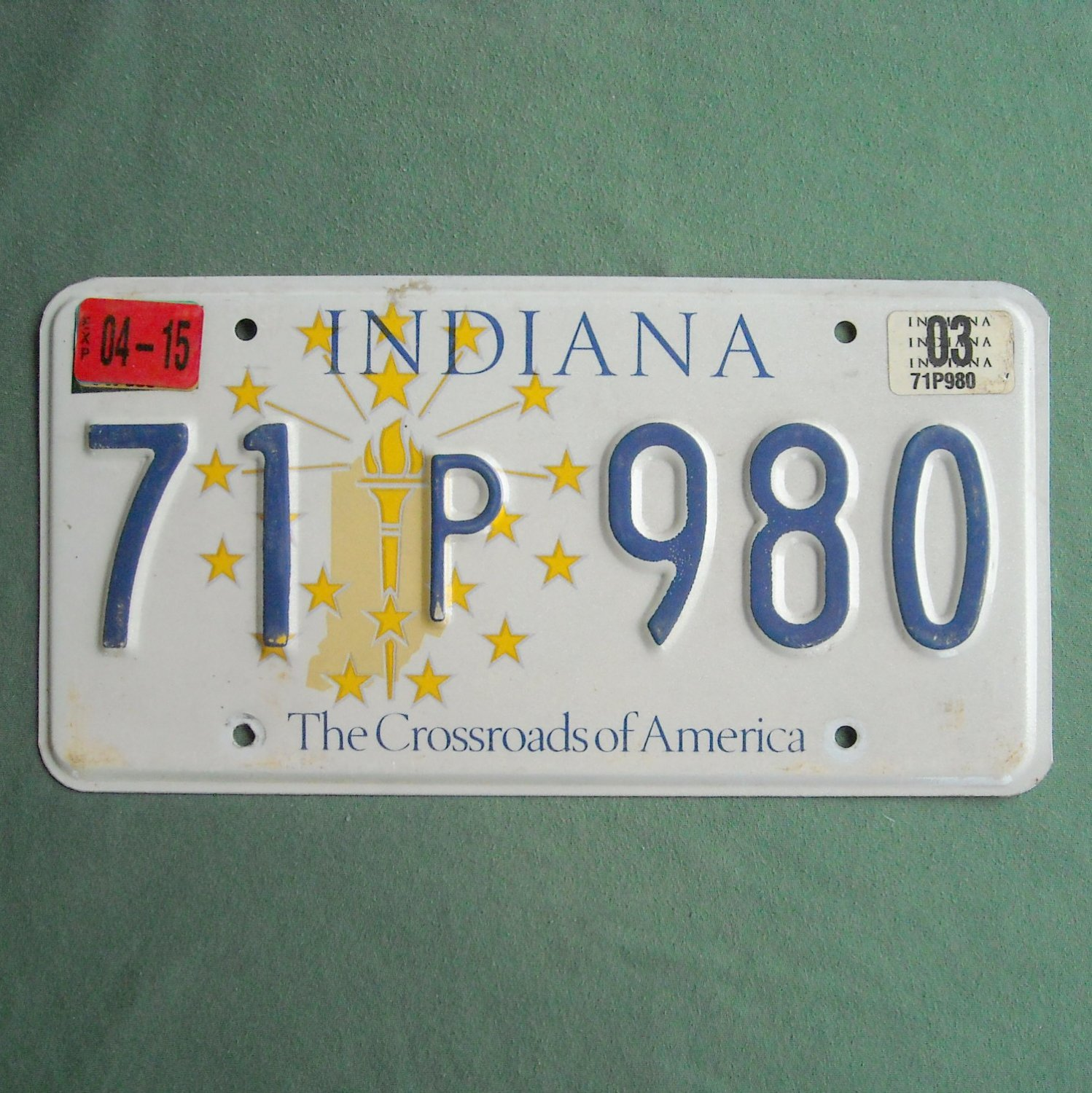 The Crossroads Of America Indiana State License P Plate 2003