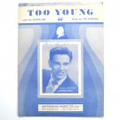 Vintage Too Young By Sid Lippman 1951 Sheet Music