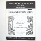 Renaissance Rhythmic Studies American Recorder Society Edition Sheet Music Notebook