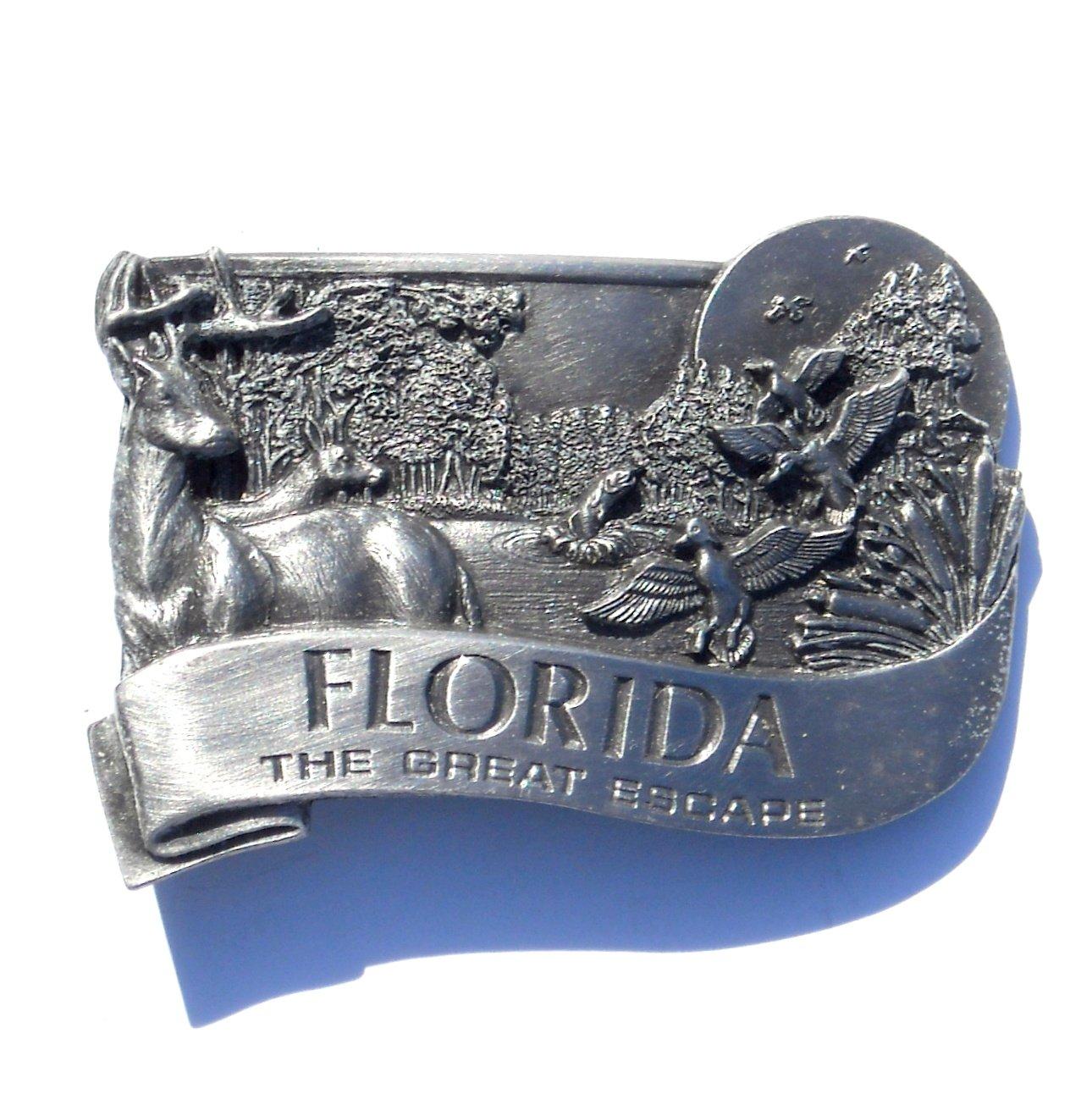 Florida State Great Escape Vintage Bergamot Pewter Belt Buckle