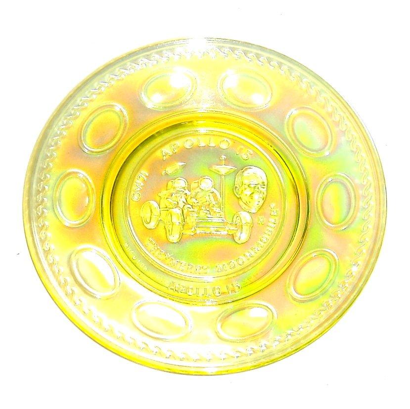 Wheaton Apollo 15 Vintage 1971 Yellow Iridescent Carnival Glass Plate