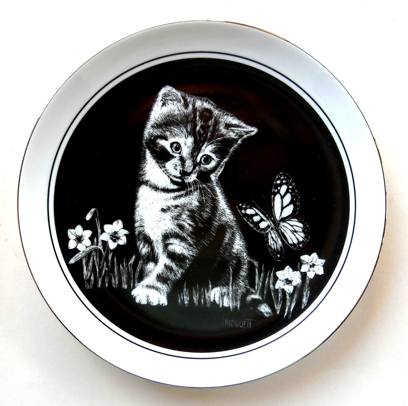 Kittens World Are You A Flower Droguett Royal Cornwall 1979 Porcelain Plate