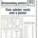 Winter Coats Jacket Phoebus Dressmaking Vintage 1975 Sheet Sewing Pattern 80
