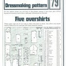 Five Overshirts Tops Phoebus Dressmaking Vintage 1975 Sheet Sewing Pattern 79