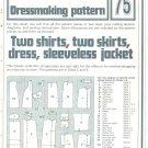 Shirts Skirts Dress Phoebus Dressmaking Vintage 1975 Sheet Sewing Pattern 75