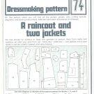 Raincoat Jackets Phoebus Dressmaking Vintage 1975 Sheet Sewing Pattern 74