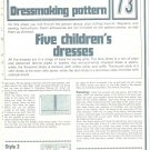 Childrens Dresses Phoebus Dressmaking Vintage 1975 Sheet Sewing Pattern 73