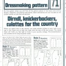 Womens Knickerbockers Dressmaking Phoebus Vintage 1975 Sheet Sewing Pattern 71