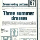 3 Summer Dresses Dressmaking Phoebus Vintage 1975 Sheet Sewing Pattern 67