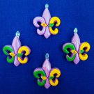 New Set of 4 Fleur De Lis Mini Tree Ornaments