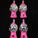 New Set of 4 Pink Gunball Dispenser Mini Tree Ornaments