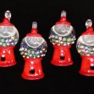 New Set of 4 Red Gunball Dispenser Mini Tree Ornaments