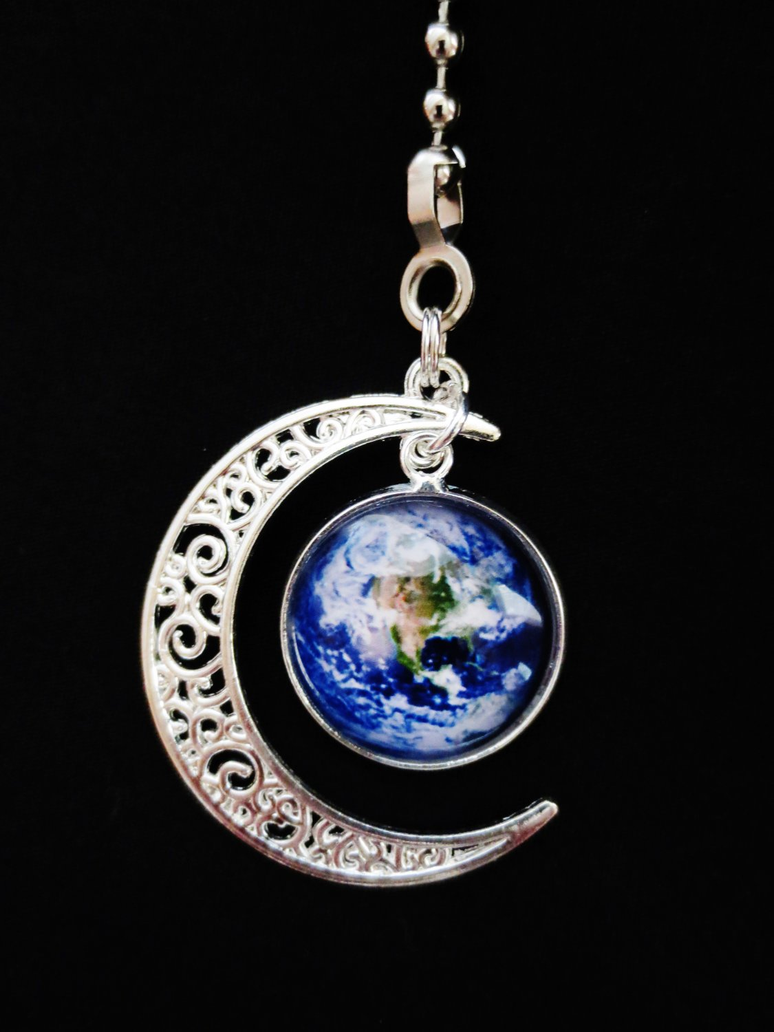 Colorful Moon Earth Metal Ceiling Fan Light Pull Chain
