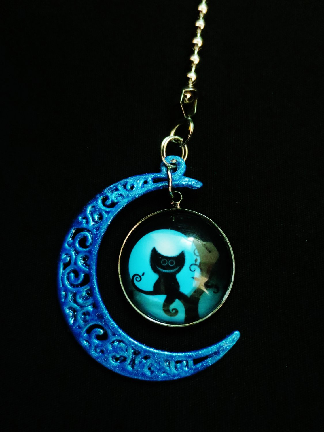 Colorful Moon Cheshire Cat Metal Ceiling Fan Light Pull Chain