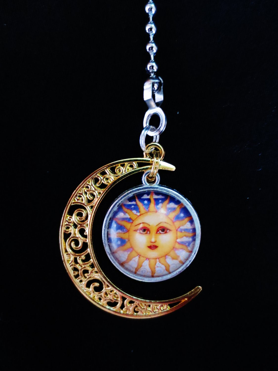 Gold Plated Moon Sun Metal Ceiling Fan Light Pull Chain