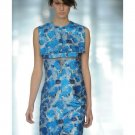 NWT CHRISTOPHER KANE RUNWY MARTE BLUE SILK BROCADE GHOST ORGANZA DRESS UK8 US4