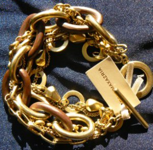 New BCBG MAXAZRIA LINKS & CHAINS OLD GOLD BRACELET