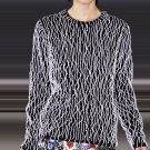 $2.7K NWT CHRISTOPHER KANE NAVY BLUE CASHMERE JUMPER WHITE PIPING EMBROIDERY S