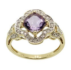 Amethyst Diamond Gold Ring (size: 7)
